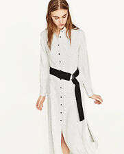 ZARA SS17 Striped Long Flowing Tunic Shirt Dress With Belt Black White XS M BNWT