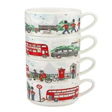 LONDON STREETS STACK OF 4 MUGS: NEW