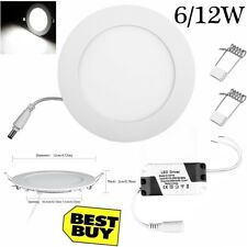 6/12W LED Round Recessed Ceiling Flat Panel Down Light Ultra Slim Cool White