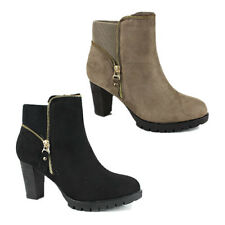 WOMENS PLATFORM CASUAL BLOCK HIGH HEEL ZIP ANKLE BOOTS LADIES SHOES NEW SIZE 3-8