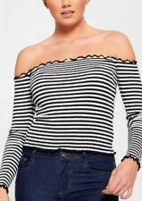Black and White Striped Bardot Stretchy Top with Long Sleeves - FREE P&P