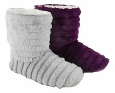 Womens Ladies Fluffy Plush Fur Boots Bootie Slippers Purple Or Grey Size 3-8