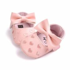 Infant and Newborn Shoes for girls Bow Knot little hearts Soft sole non slip