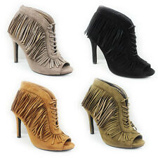 WOMENS HIGH HEEL PEEP TOE LACE UP TASSEL ANKLE BOOTS LADIES SHOES NEW SIZE 3-7