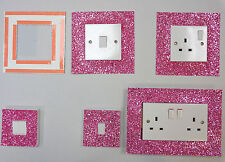 PINK GLITTER FABRIC SWITCH SOCKET COVERS WITH DOUBLE SIDE TAPE SWITCHES COVER