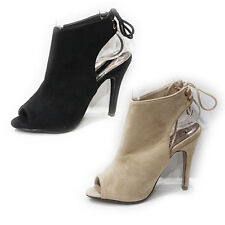 WOMENS HIGH HEEL PEEP TOE BACK TIE UP CUT OUT ANKLE BOOTS LADIES SHOES SIZE 3-8