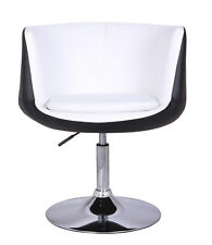 BLACK /WHITE FAUX LEATHER MODERN STYLE TUB BARBER CHAIR BEAUTY HAIRDRESSER SALON