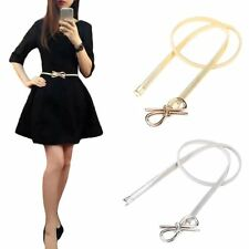 Women's Belt Metal Bow Buckle Elastic Dress Waistband Skinny Cummerbund Hot Sale