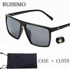 Men Sunglasses Black Frame Square Shades Mercury Lens Polarized Oversized Sale
