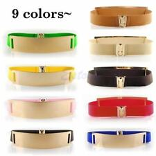 Women Belts Gold Plated Plate Belt Wide Elastic Waist Bands Cummerbunds Dress