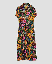 ZARA Floral Print Midi Shirt Button Down Dress Vintage Retro Style XS S M BNWT