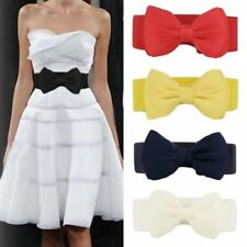 Women Belts Bow Knot Shape Cummerbund Red Elastic Wide Knitted Floral Waist Belt