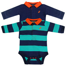 Baby Boys Striped Collared 2 Pack Bodysuit Vests Long Sleeve Tops Navy Turquoise