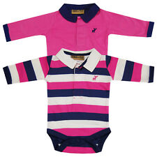 Baby Girls Striped Collared 2 Pack Bodysuit Vests Long Sleeve Tops Pink Navy