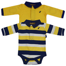 Baby Boys Striped Collared 2 Pack Bodysuit Vests Long Sleeve Tops Navy Yellow