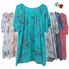 Wolfairy Women's Plus Size Top Blouse Tunic New Summer Floral Italian 16-20