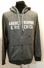 NEW Abercrombie & Fitch Graphic Full Zip Hoodie, Grey Marl