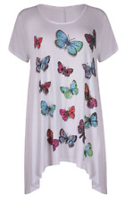 Plus Size Ladies Butterfly Print Short Sleeve Hanky Dip Hem T-Shirt Tunic Top