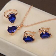 Women Jewelry Sets Necklace Royal Blue Gold Ring Wedding Accessories Gifts Sale