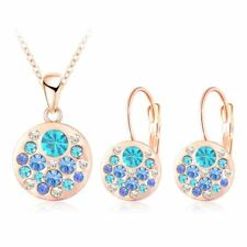 Women Rose Necklace Crystal Jewelry Set Gold Round Style Earrings Pendant Gifts