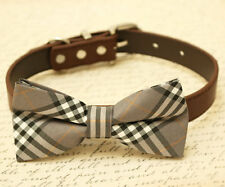 Gray plaid Dog Bow Tie attached to collar, birthday gift, pet accessory handmade
