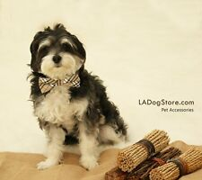 Plaid Burly wood Dog bow tie collar leather collar pet accessory Puppy