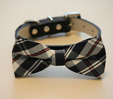 Plaid Burly wood Dog bow tie Collar Leatther - Pet accessory - Puppy gift -Black