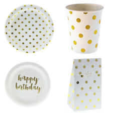 24pcs/Set Gold Dot Happy Birthday Disposable Tableware Plates Cups Party Dinner
