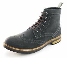 Frank James Hackney Mens Real Leather Lace Up Brogue Boots Grey Suede