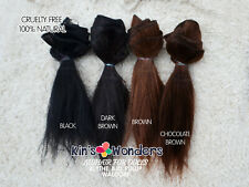 Wefted mohair Straight Doll hair Reroot Black Blythe BJD Waldorf natural