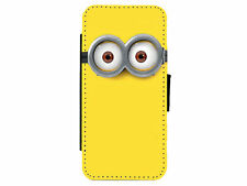 MINIONS Goggle Eyes Leather Flip Phone Case Cover for iPhone & Samsung D17