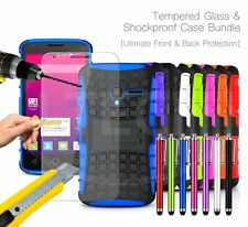 For Alcatel A3 (2017) Dual SIM 5046D Shockproof Rugged Strong Case, Glass & Pen