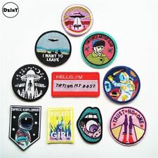 Alien Stickers Embroidered Patches Iron On Cloth Parch DIY White Stripes3D Patch
