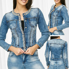 Mujer Chaqueta senoras Denim Pearls Slim diamantes Stretch Corta Transición