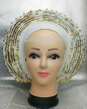 Bedazzeled bridal AUTO Gele Pleated gele aso oke gele auto gele (100% aso oke)