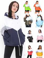Contrast Color Womens Hooded Rain Mac Festival Cagoule Ladies Windbreaker Jacket