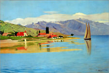 Stampa su tela The port of Pully - Felix Edouard Vallotton