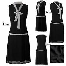 Black Classic Vintage Gatsby 1920s Flapper Dress Party Womens Dresses Plus Size