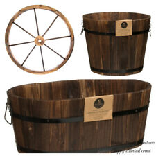 New Rustic Wood Large Burntwood Barrel Planter Cottage Style