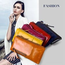 Long Leather Purse Wallets Vintage Handbags Card Holder Money Phone For Women FT