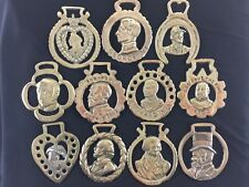 Vintage/Antique Polished Horse Brasses with Various Portraits display decor rare