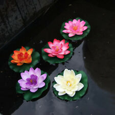 Artificial Fake Lotus Water lily Floating Flower Garden Pool Plant Ornament CL