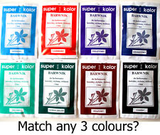 Clothes Dye Fabric 3 x pack Cotton Viscose Nylon Linen Red Blue Navy Black Brown