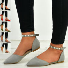 New Womens Ladies Ankle Strap Pearl Studded Flats Pointed Toe Ballet Shoes Size