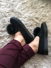 New Women Ladies Pom Pom Flat Pumps Faux Suede Shoes Everyday Slippers Black 5