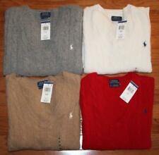 NEW Polo Ralph Lauren Womens Sweater Cableknit V-Neck Cashmere Merino Wool $98