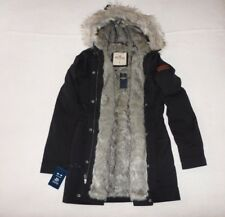 Womens Hollister by Abercrombie & Fitch Faux Fur Hoodie Coats Jacket Size M, L,
