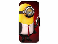 MINIONS 007 Bond Leather Flip Phone Case Cover for iPhone & Samsung D19
