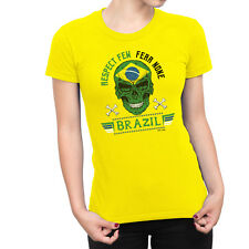 BRAZIL Womens RESPECT FEW FEAR NONE T-Shirt FOOTBALL World Cup 2018 Ladies