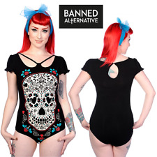 Banned Apparel Skull With Roses Gothic Rockabilly One Piece Bodysuit